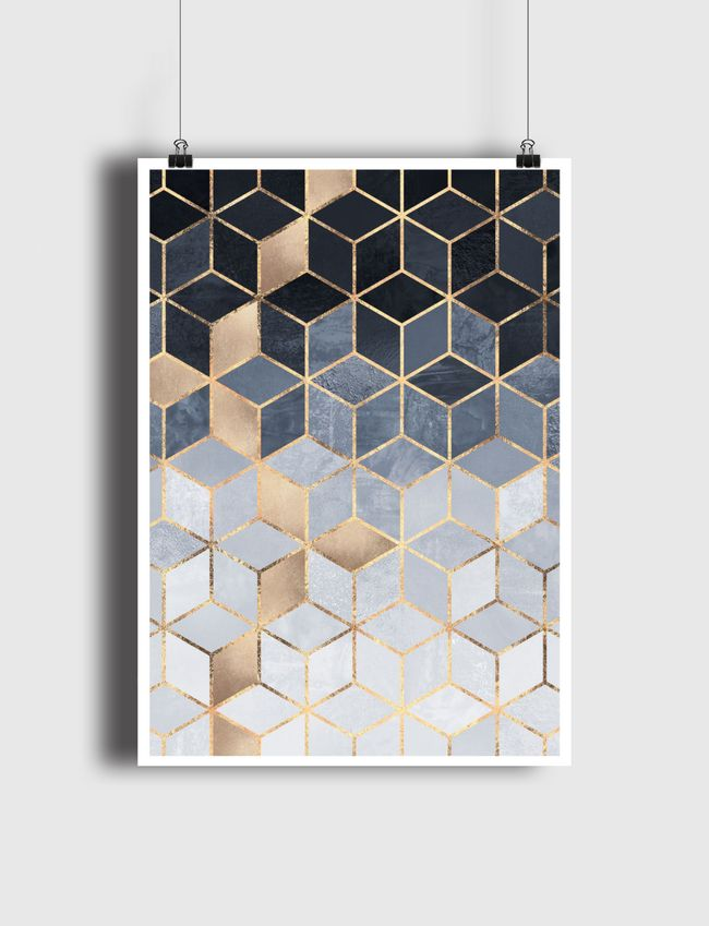 Soft Blue Gradient Cubes - Poster