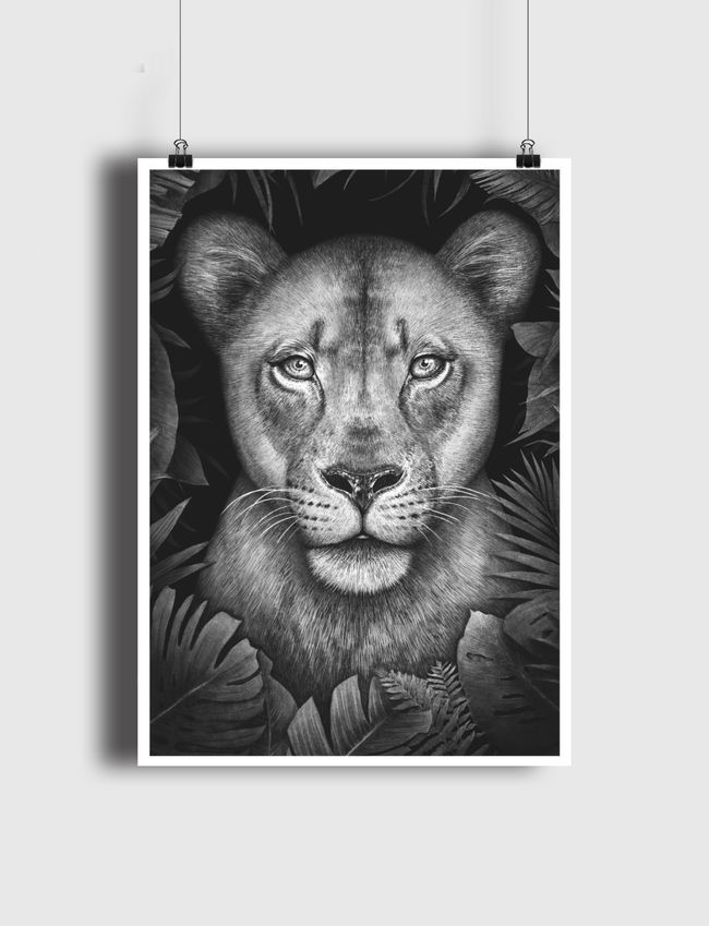 Lioness in tropical leaves - Poster