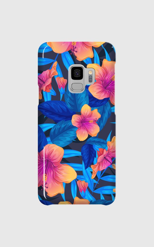 blue topical floral design - Samsung Galaxy