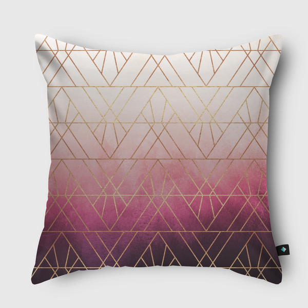 Pink Ombre Triangles Throw Pillow