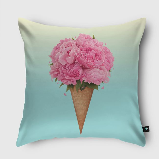 Ice cream with peonies - Throw Pillow