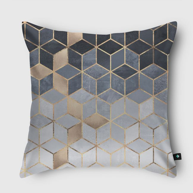 Soft Blue Gradient Cubes - Throw Pillow