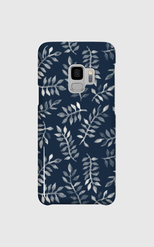 White Leaves on Navy - Samsung Galaxy