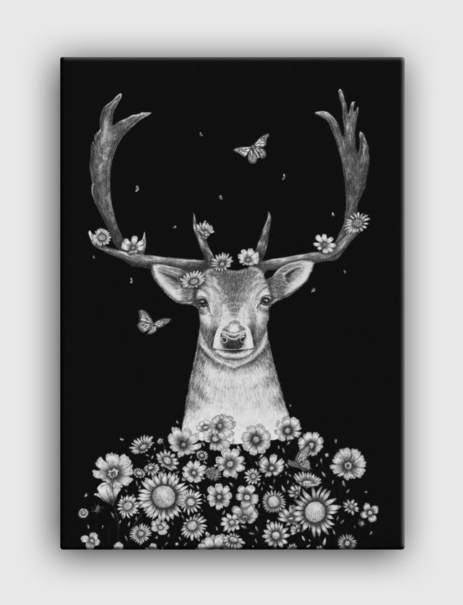 Deer in flowers on black - Canvas