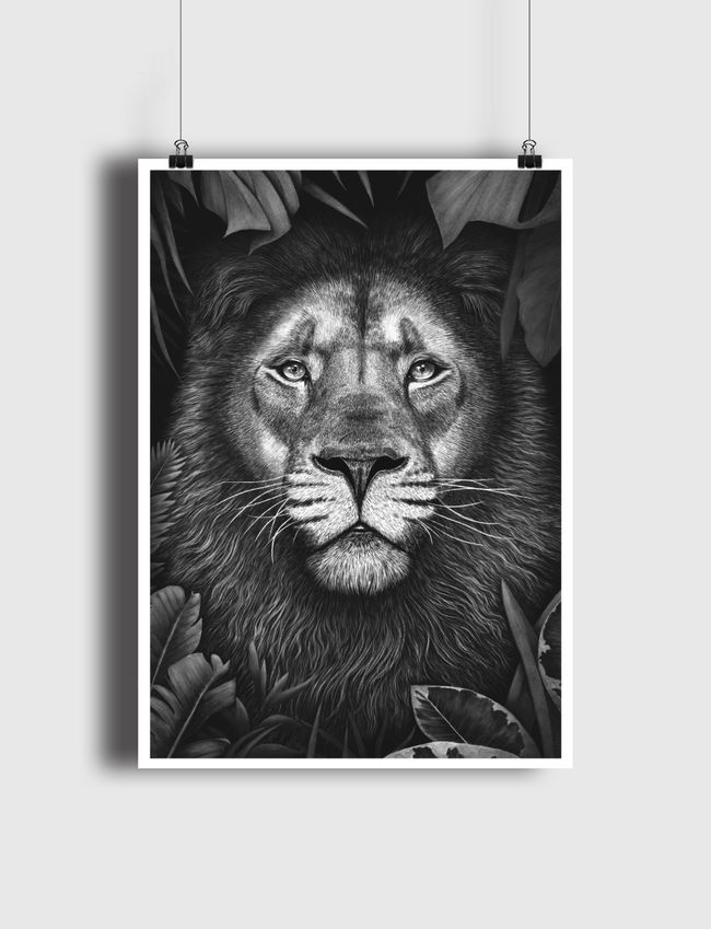 Lion in tropical leaves - Poster