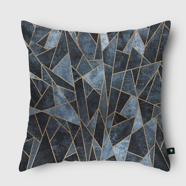 Shattered Soft Dark Blue - Throw Pillow